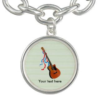 Acoutic Bass Guitar Music Pattern Charm Bracelets