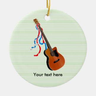 Acoutic Bass Guitar Music Pattern Round Ceramic Ornament