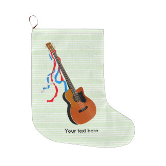 Acoutic Bass Guitar Patriotic ribbons Large Christmas Stocking