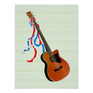 Acoutic Bass Guitar Patriotic ribbons Poster