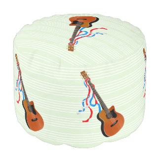 Acoutic Bass Guitar Patriotic ribbons Pouf