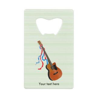Acoutic Bass Guitar Patriotic ribbons Wallet Bottle Opener