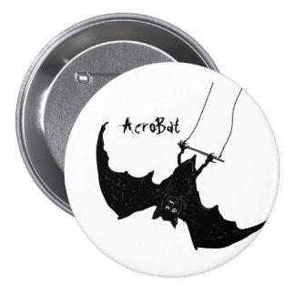AcroBat Buttons Big Black Bat on trapeze