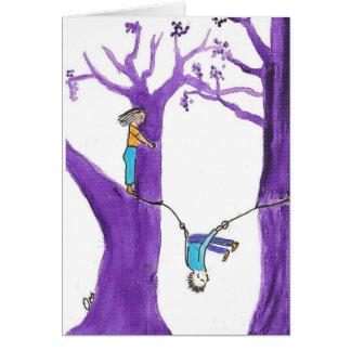 Acrobatics on two purple trees card