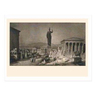 Acropolis, Athens, artists impression c. 1900 Postcard