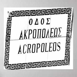 Acropolis Sign taken on Rhodes Poster