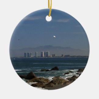 Across the Bay Round Ceramic Ornament