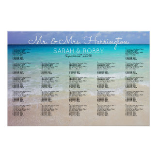 Across the Sea Horizon Wedding Seating Chart Poster