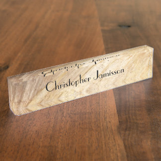 Acrylic Desk Nameplate, Faux Light Brown Stone Nameplates