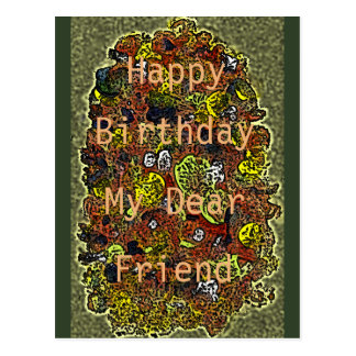 Acrylic Flowers Birthday Wishes For Your Friend Postcard