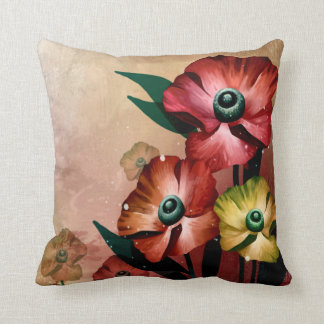Acrylic Flowers Painting Artwork Throw Pillow
