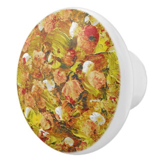 Acrylic Flowers Retro Hand-Painted Design Ceramic Knob