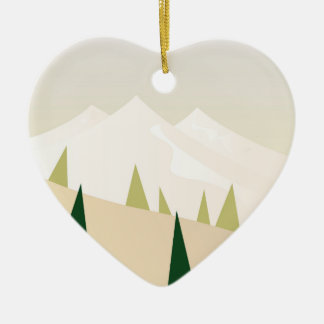 Acrylic heart Ornament with Mountains