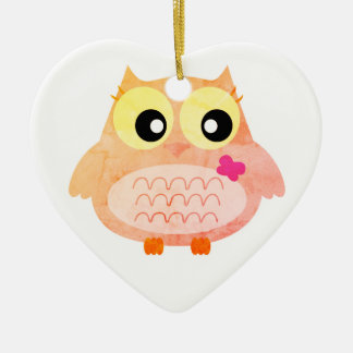 Acrylic kids heart with Owl Ceramic Ornament