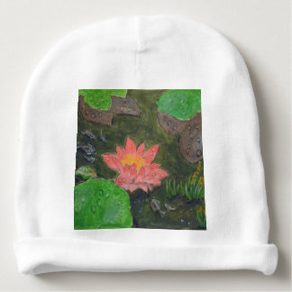 Acrylic on canvas, pink water lily flower baby beanie