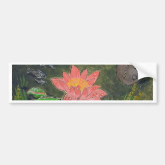 Acrylic on canvas, pink water lily flower bumper sticker