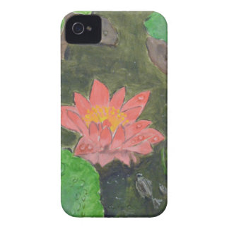Acrylic on canvas, pink water lily flower iPhone 4 case