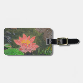 Acrylic on canvas, pink water lily flower luggage tag