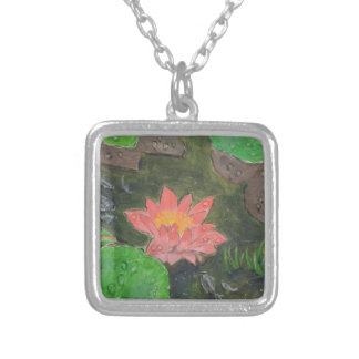 Acrylic on canvas, pink water lily flower silver plated necklace