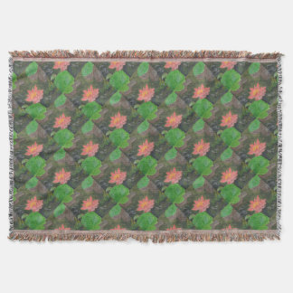 Acrylic on canvas, pink water lily flower throw blanket