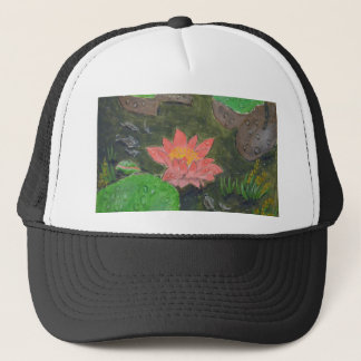 Acrylic on canvas, pink water lily flower trucker hat