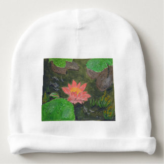 Acrylic on canvas, pink waterlily and green leaves baby beanie