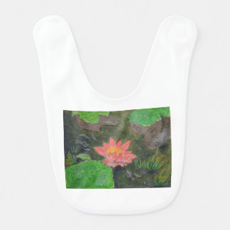 Acrylic on canvas, pink waterlily and green leaves baby bibs