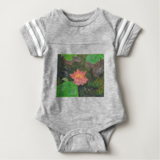 Acrylic on canvas, pink waterlily and green leaves baby bodysuit