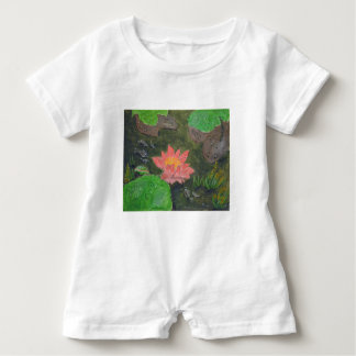 Acrylic on canvas, pink waterlily and green leaves baby romper
