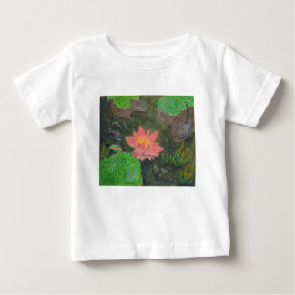 Acrylic on canvas, pink waterlily and green leaves baby T-Shirt