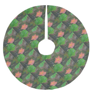 Acrylic on canvas, pink waterlily and green leaves brushed polyester tree skirt