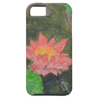 Acrylic on canvas, pink waterlily and green leaves case for the iPhone 5
