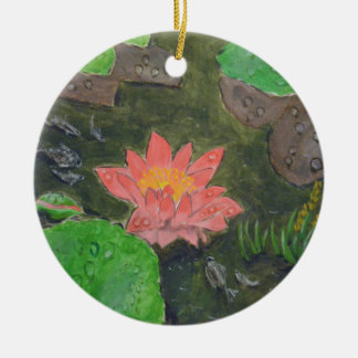 Acrylic on canvas, pink waterlily and green leaves ceramic ornament