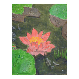 Acrylic on canvas, pink waterlily and green leaves custom letterhead