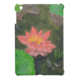 Acrylic on canvas, pink waterlily and green leaves iPad mini cases