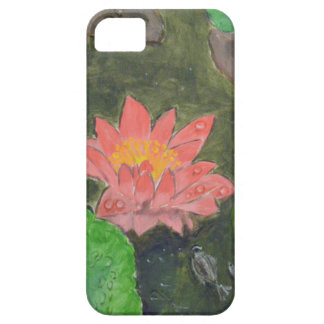 Acrylic on canvas, pink waterlily and green leaves iPhone 5 case