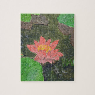 Acrylic on canvas, pink waterlily and green leaves jigsaw puzzle