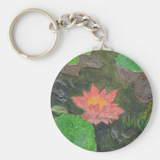 Acrylic on canvas, pink waterlily and green leaves keychain