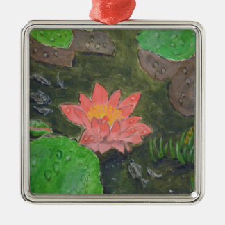 Acrylic on canvas, pink waterlily and green leaves metal ornament
