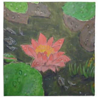 Acrylic on canvas, pink waterlily and green leaves napkin