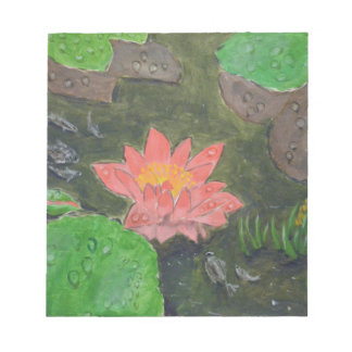 Acrylic on canvas, pink waterlily and green leaves notepad