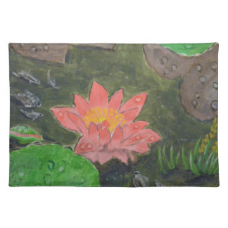 Acrylic on canvas, pink waterlily and green leaves placemat
