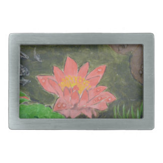 Acrylic on canvas, pink waterlily and green leaves rectangular belt buckle