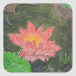Acrylic on canvas, pink waterlily and green leaves square sticker