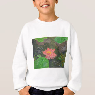 Acrylic on canvas, pink waterlily and green leaves sweatshirt