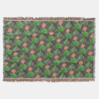 Acrylic on canvas, pink waterlily and green leaves throw blanket