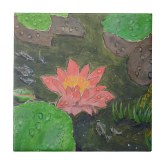 Acrylic on canvas, pink waterlily and green leaves tile