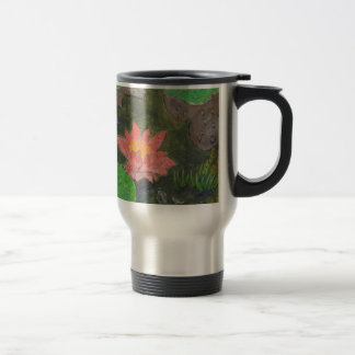 Acrylic on canvas, pink waterlily and green leaves travel mug