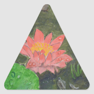 Acrylic on canvas, pink waterlily and green leaves triangle sticker