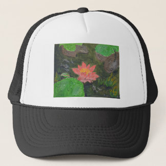 Acrylic on canvas, pink waterlily and green leaves trucker hat